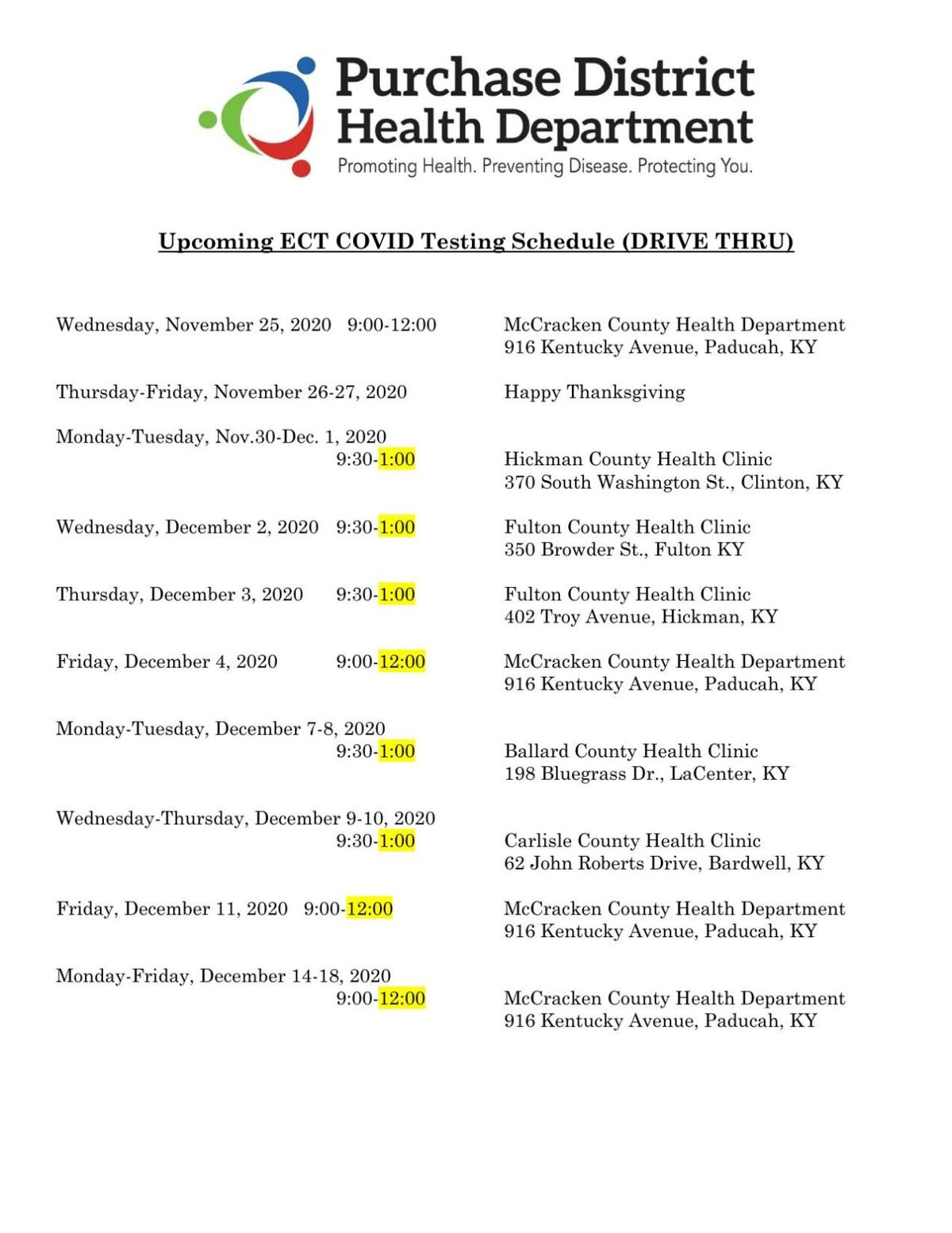 COVID-19 testing schedule Purchase District Health Department