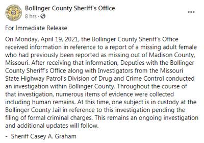 FB Bollinger MO remains