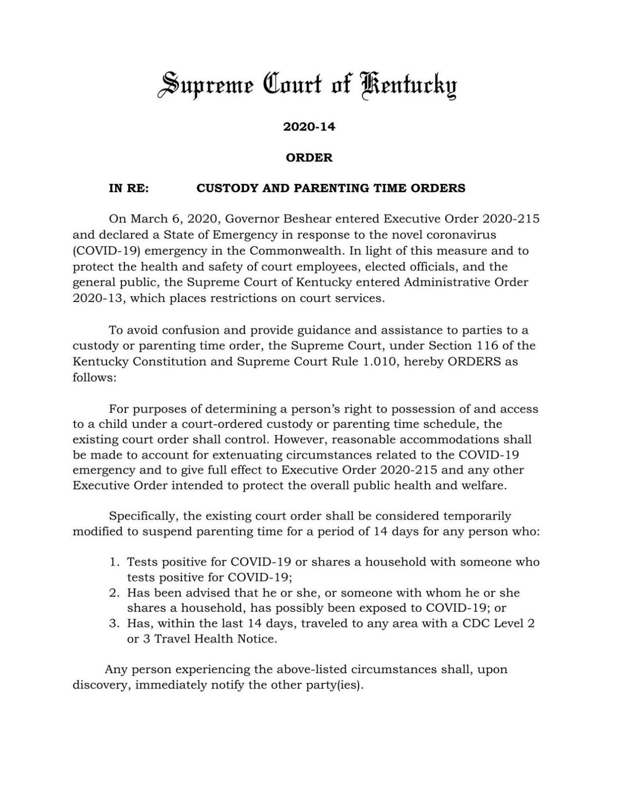 KY Supreme Court Order- Custody and Parenting Time Orders