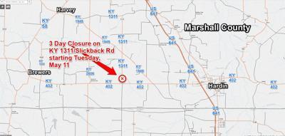 Slickback road closure Marshall County 5/11/21