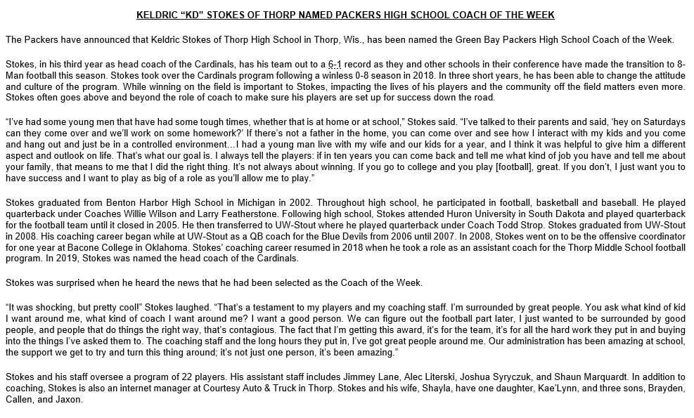 Green Bay Packers press release on Keldric Stokes