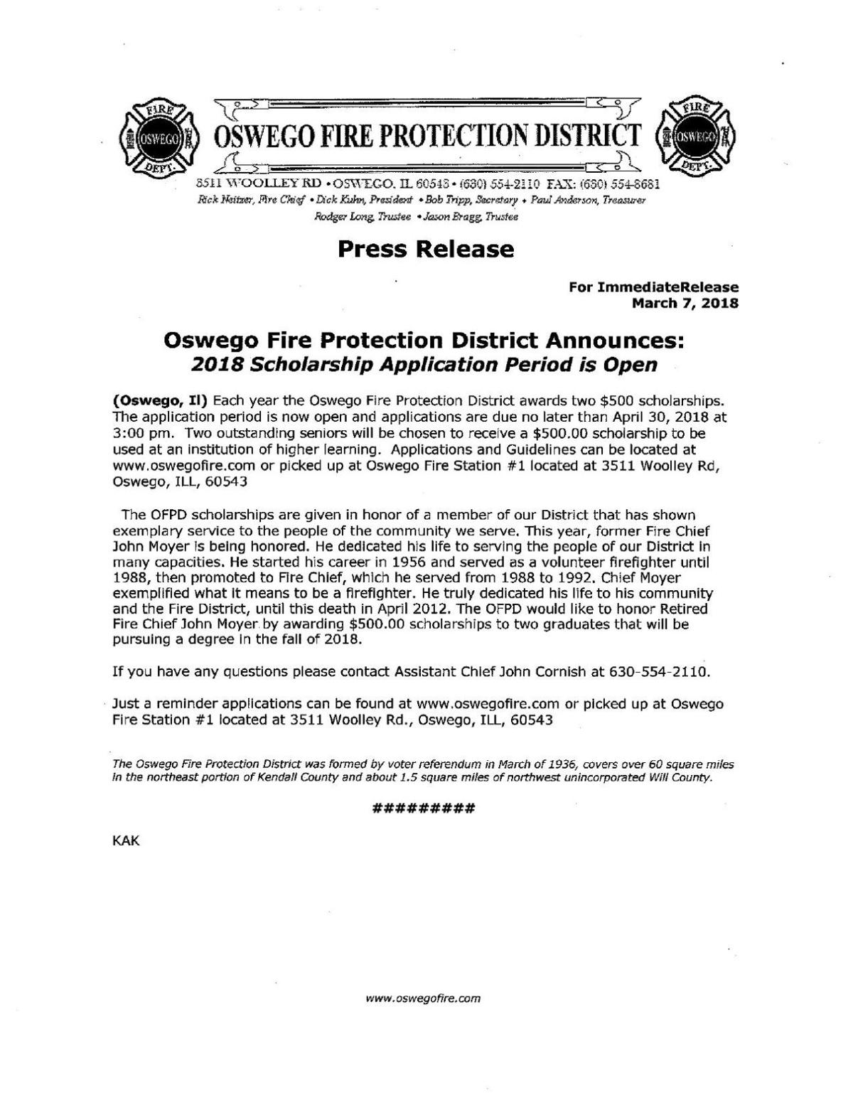 Oswego Fire Protection District Announces 2018 Application