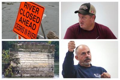 Collage:  River Closed Sign, Limestone Pier, Matt Kellogg, David Guritz