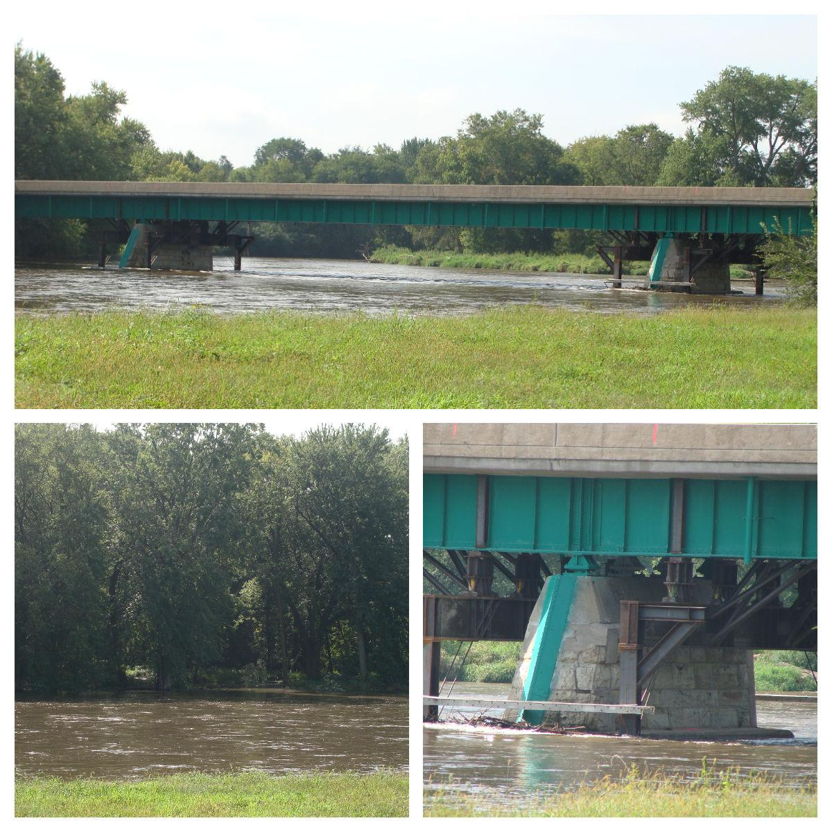 High Water on Fox River stops Millington Bridge Work