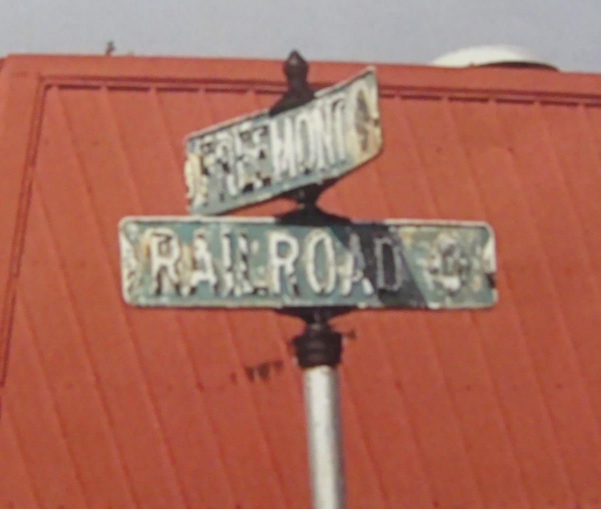 Street Sign at Corner of E. Railroad and Freemont Streets in Sandwich