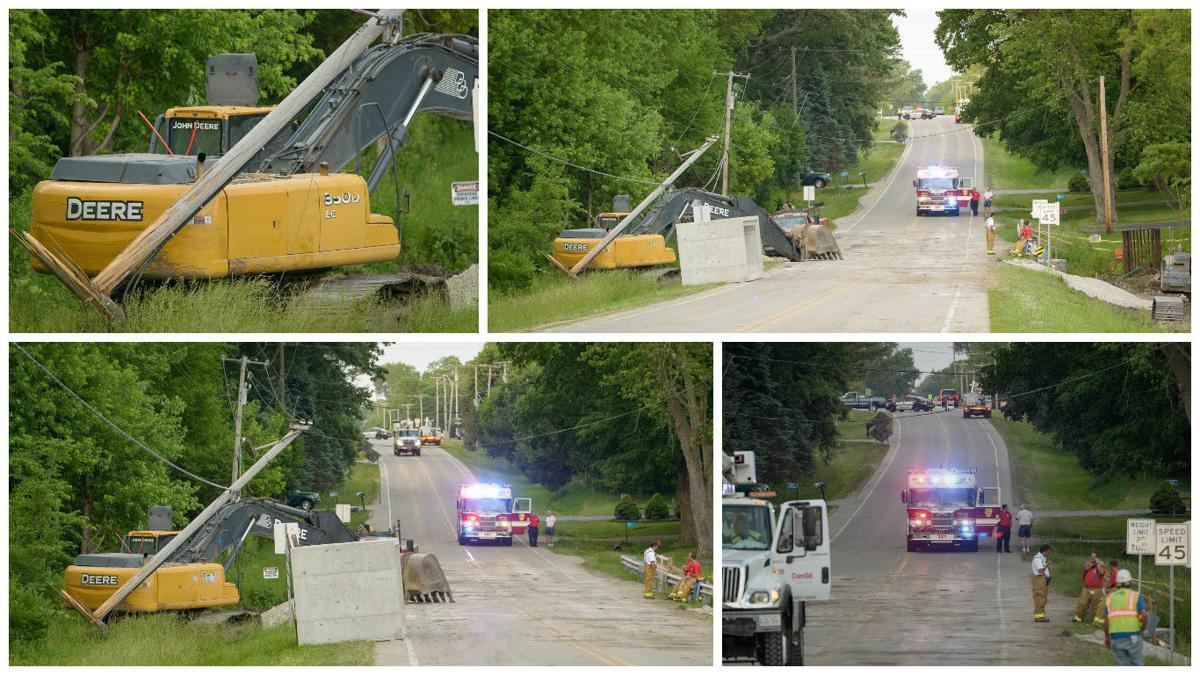 power lines fall after accident with excavator in yorkville