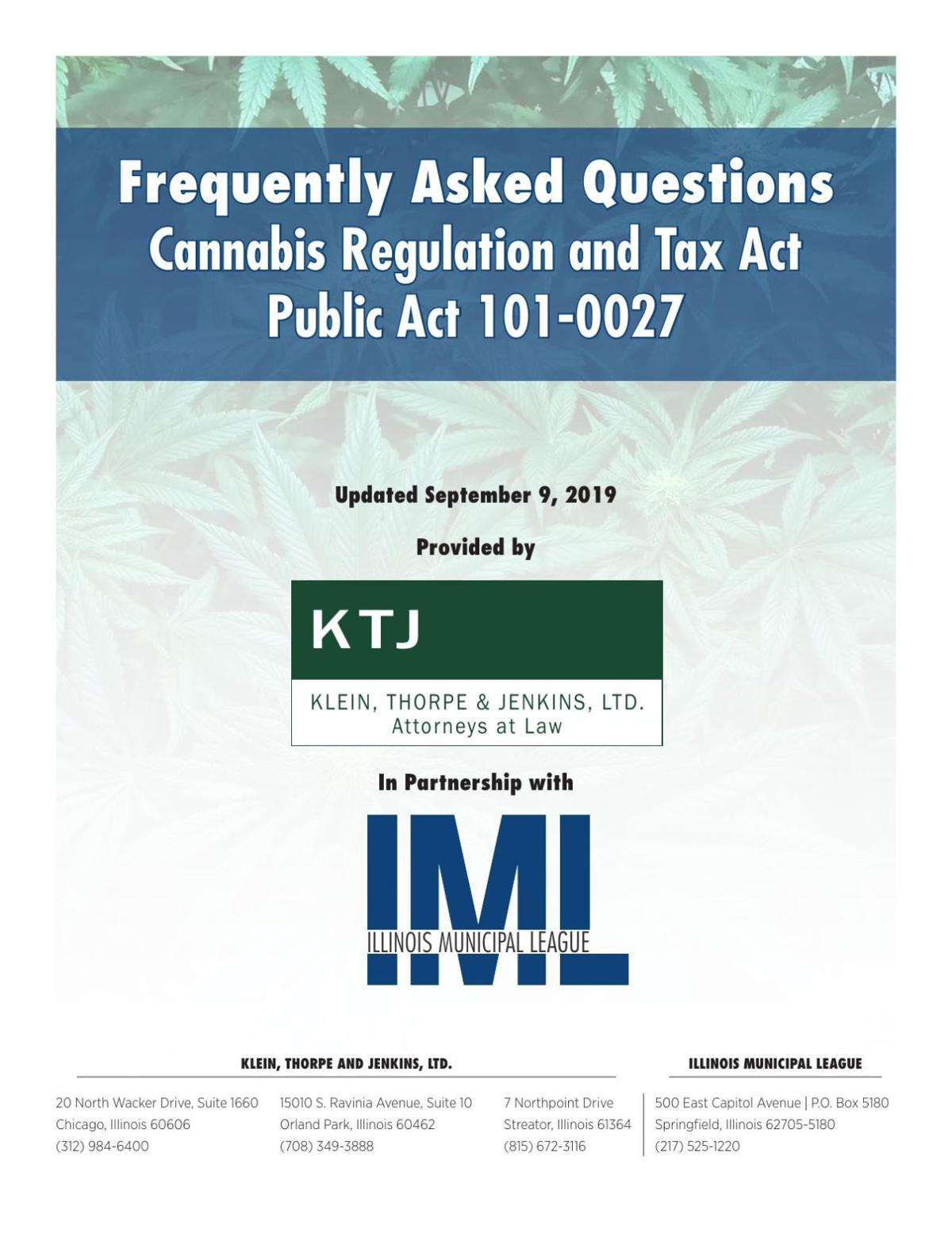 Illinois Municipal League--Frequently Asked Questions about the Sale of Cannabis
