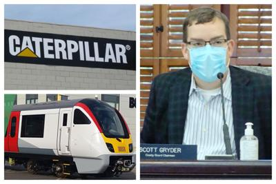 Collage:  CAT Logo, Bombardier train and Kendall Co. Bd. Chairman Scott Gryder