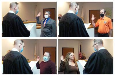 Collage:  Todd Latham, Pete Dell, Bill Fritsch and Rebecca Johnson Sworn In by Judge John McAdams