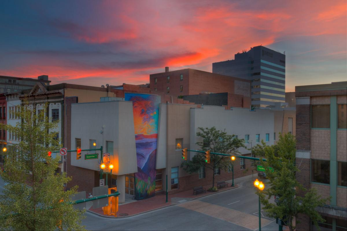 The Mural by Jeff Pierson on the Summit Conference Center at Sunset