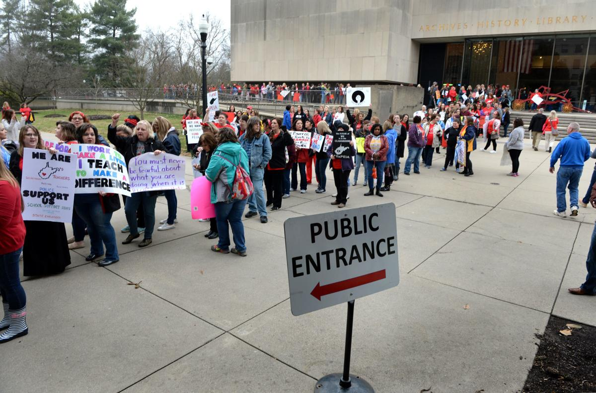 Teachers protest at Capitol over pay, benefits