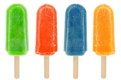 four colorful popsicles