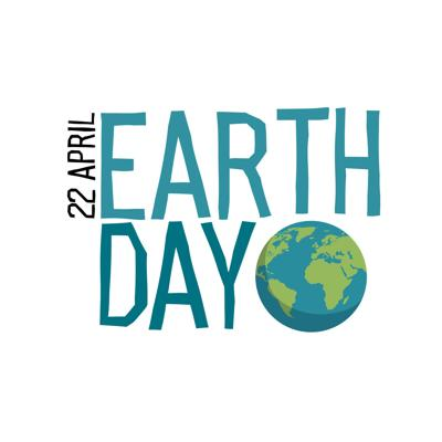 "Earth day Logo. Planet and ""Earth day, 22 April"" text. Hand drawn vector logotype. Isolated on white background"