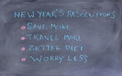 New Year resolutions written on erase chalkboard
