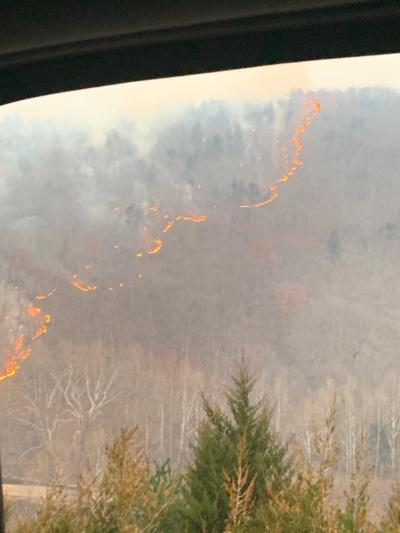 Wildfires tear through forest in Smoke Hole