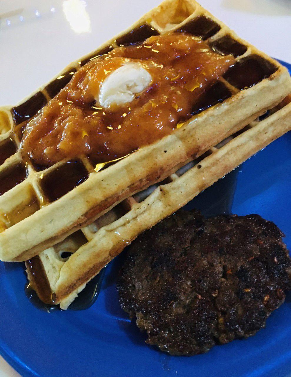 20210127-gm-foodguy_Belgian Waffle with Peach Jam Cafe Appalachia.jpg