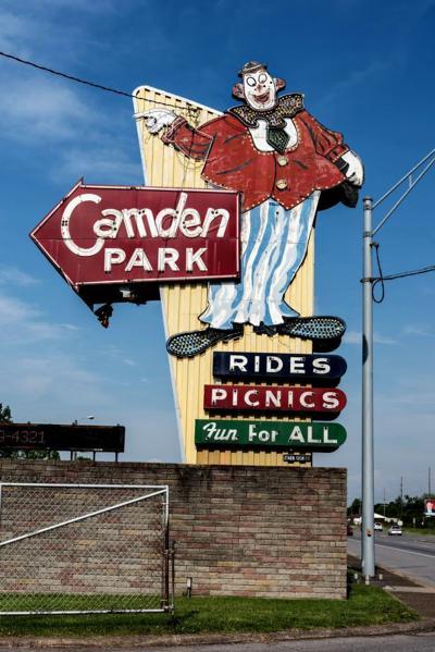 Camden Park clown sign