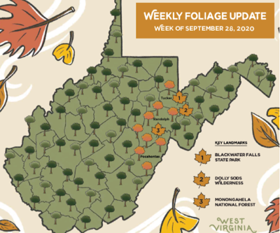 WV Fall Foliage Map