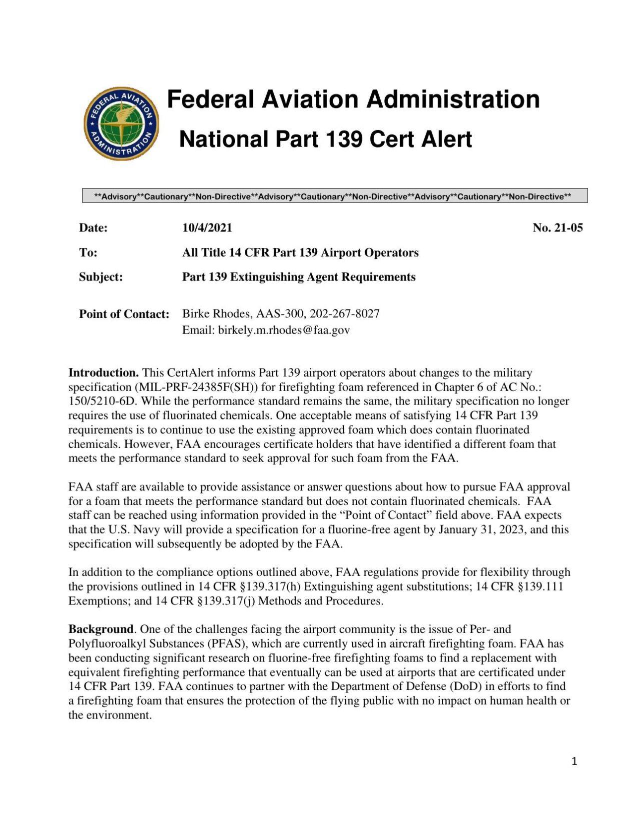 FAA National Part 139 Cert Alert