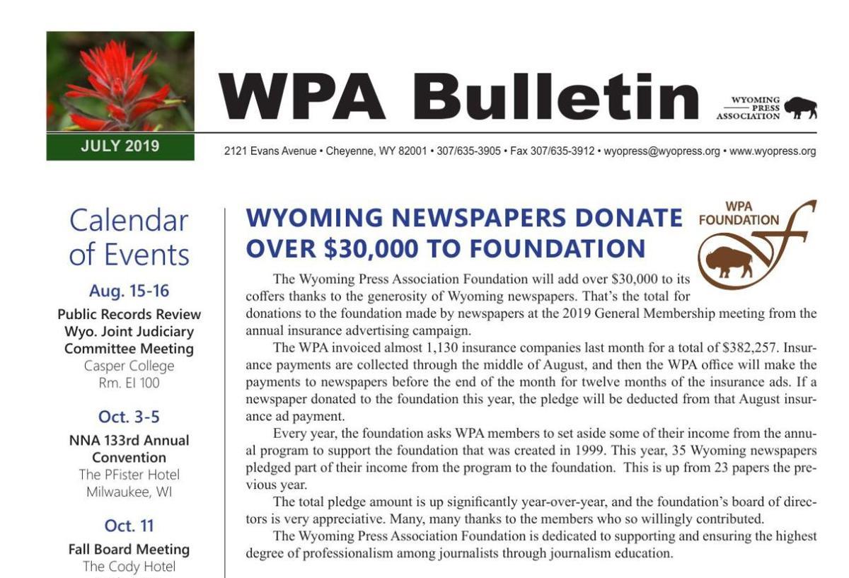 WPA E-Bulletin July