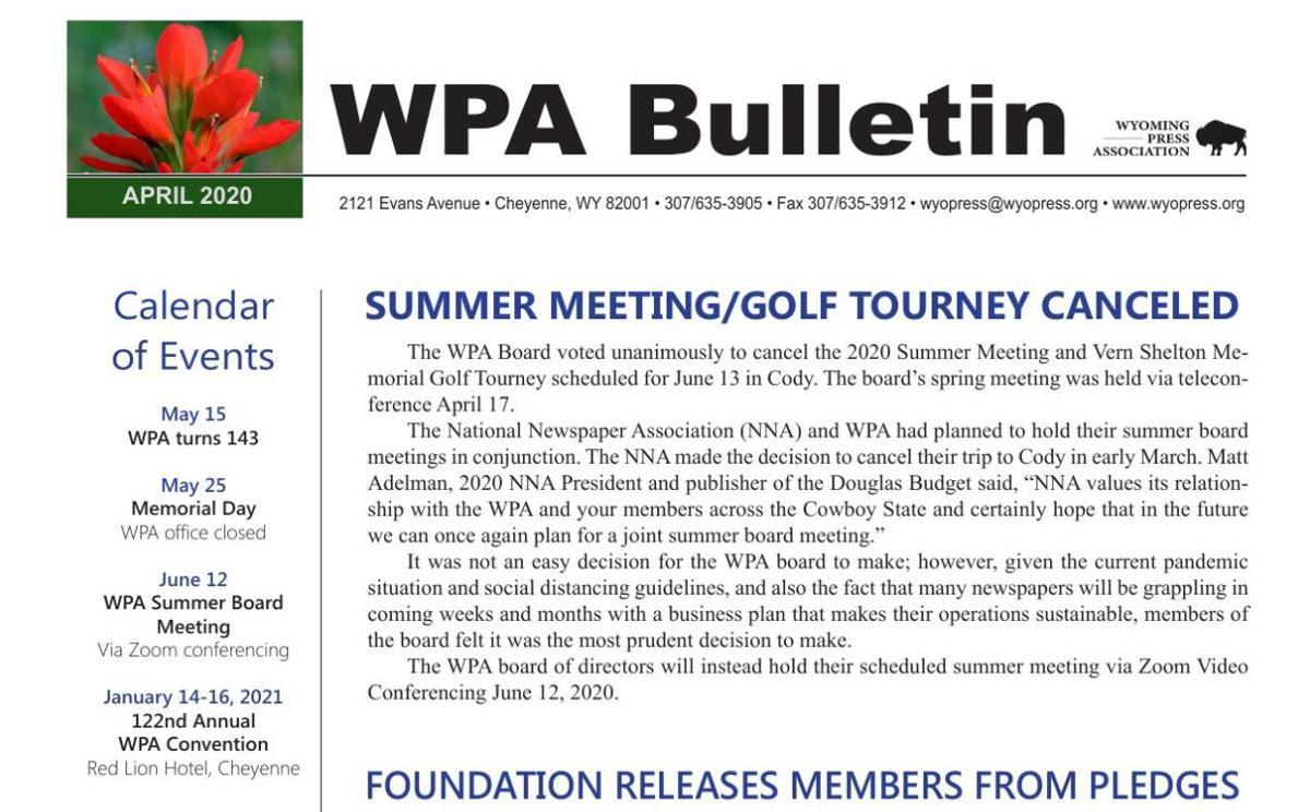 WPA April 2020 Bulletin