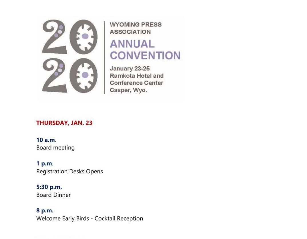 Schedule 2020 Winter Convention