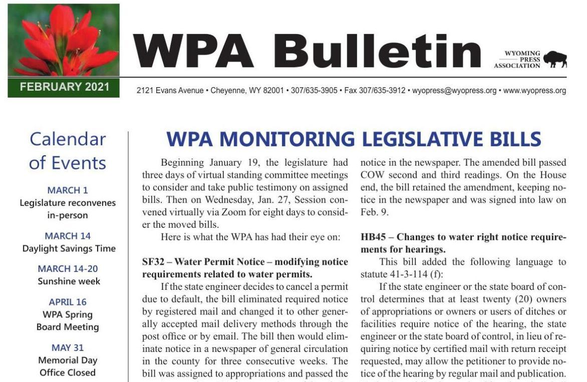 WPA February 2020 Bulletin