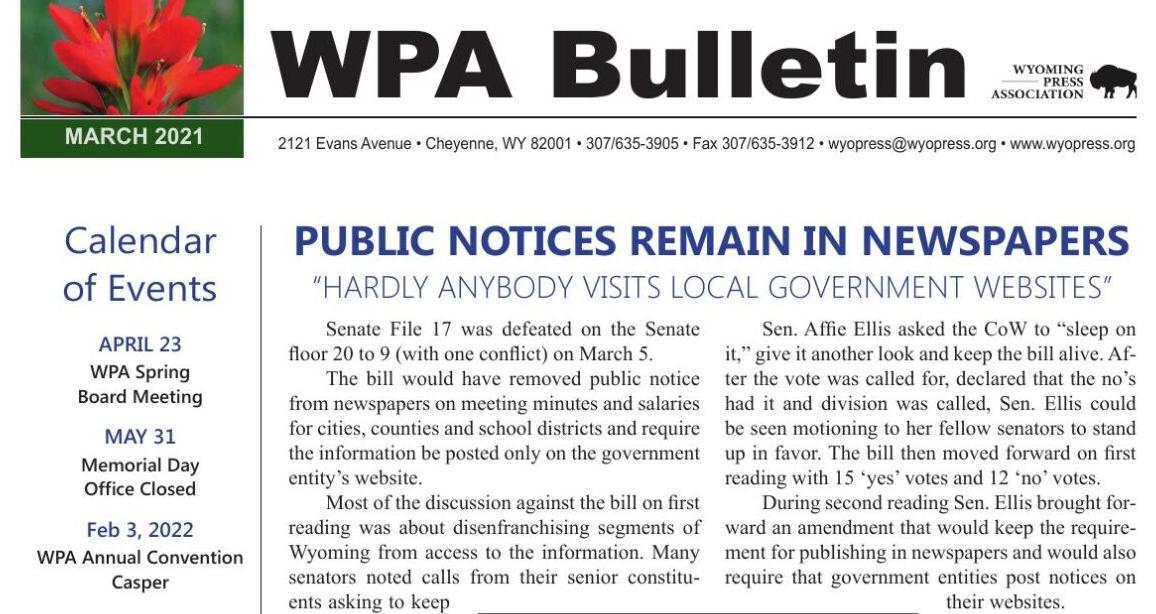 WPA March Bulletin