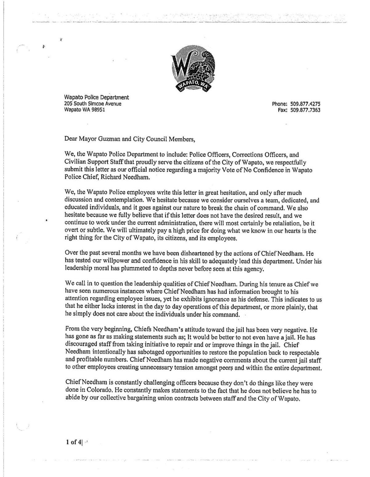 no confidence letter to mayor and council