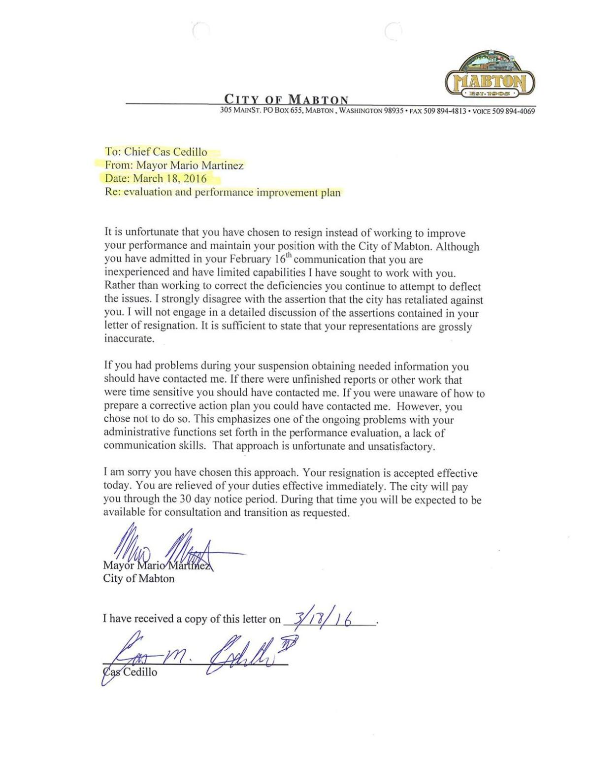 Mayors Response To Mabtons Police Chiefs Resignation Letter