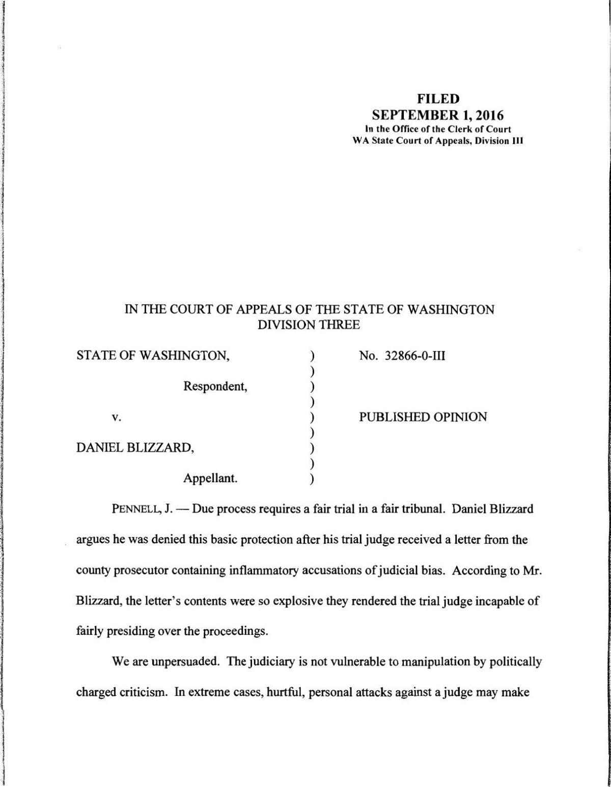 State of Washington V  Daniel Blizzard   Crime And Courts