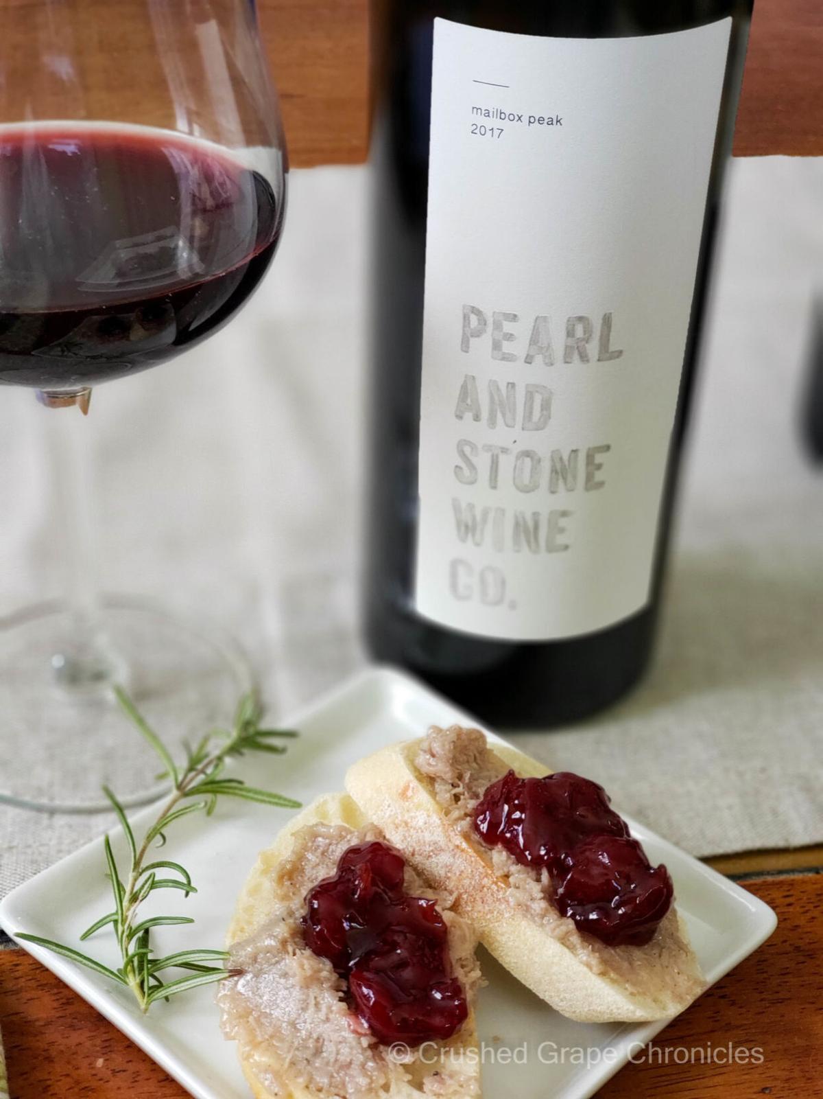 wine - Pearl & Stone 2017 Mailbox Peak with Duck Rillettes and Morello Cherry preserves.jpg