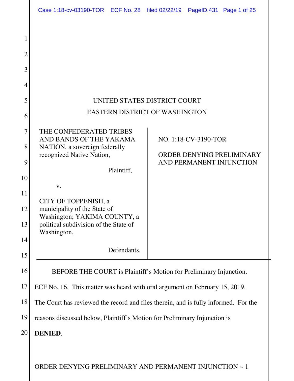 Yakamas denied injunction