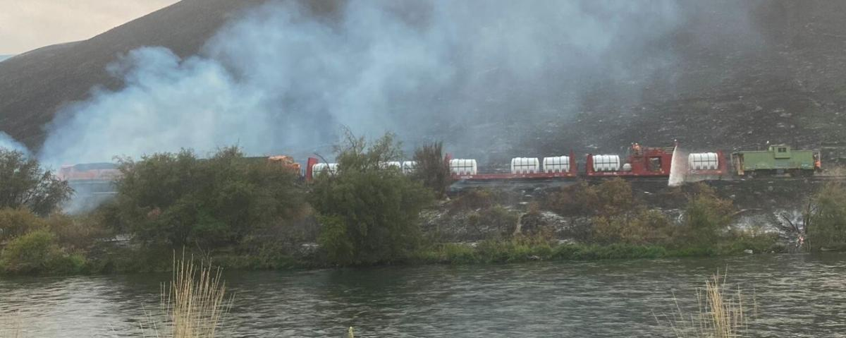 Fire train helps battle Evans Canyon Fire in Yakima River Canyon