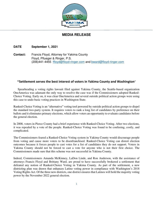 Yakima County settlement release