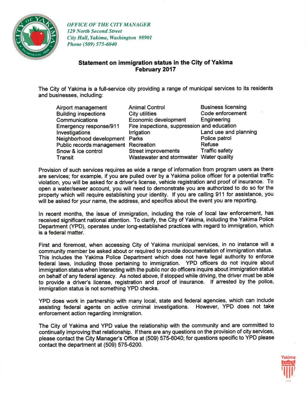 City of Yakima Statement on Immigration Status