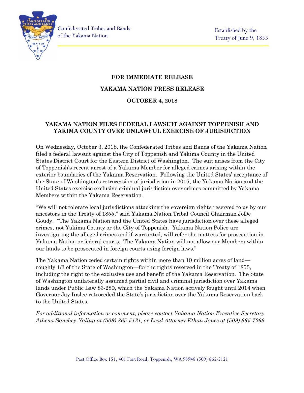 Yakaman Nation's statement