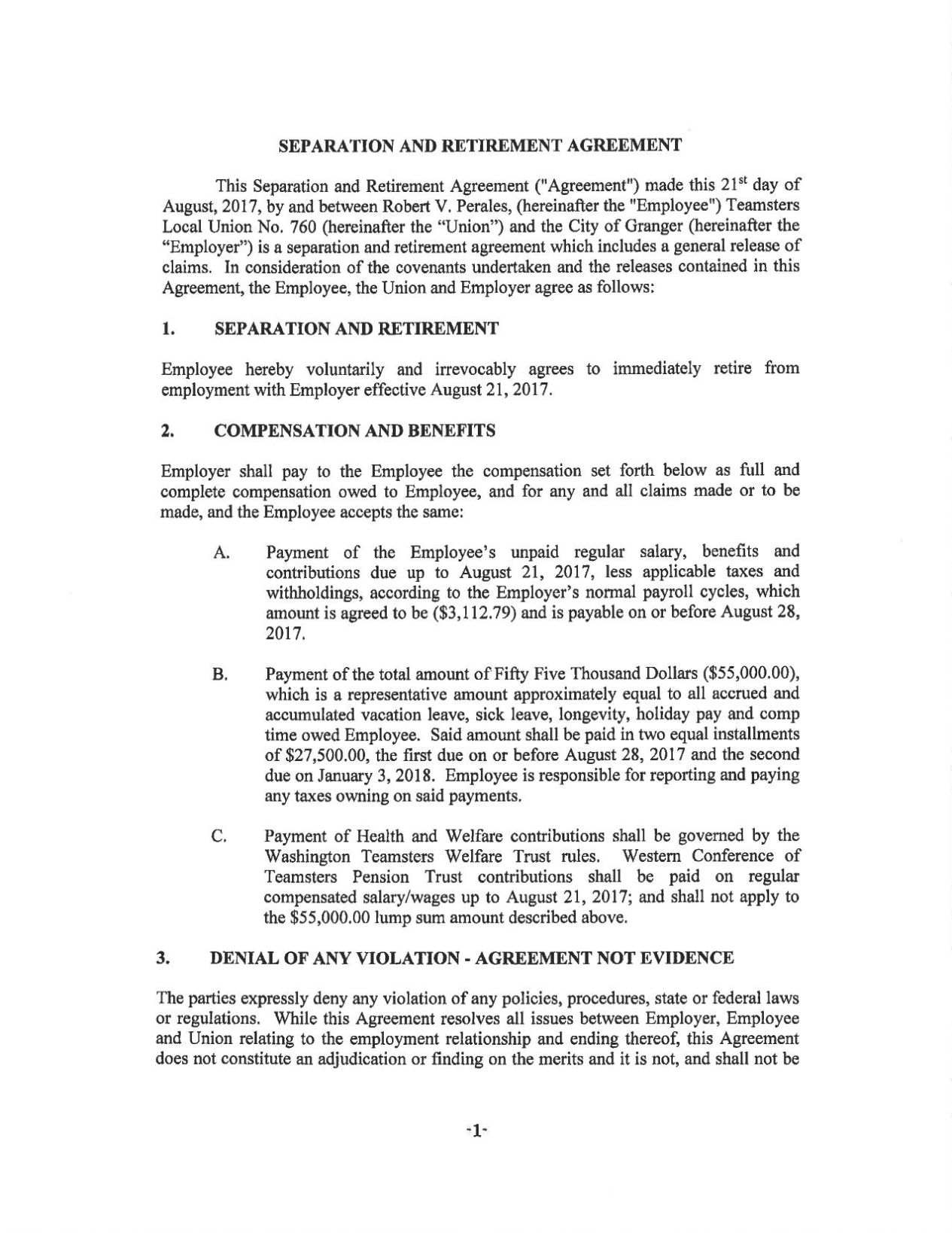 Download PDF Robert Perales Separation Agreement