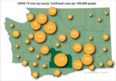 COVID-19 infection rates by county