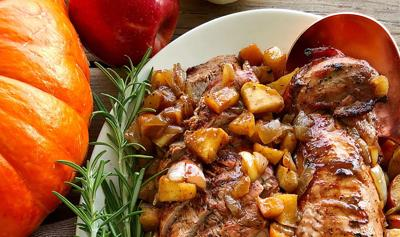 Kitchen Captivated: Maple Bourbon Pork Tenderloin with Apples and Onions