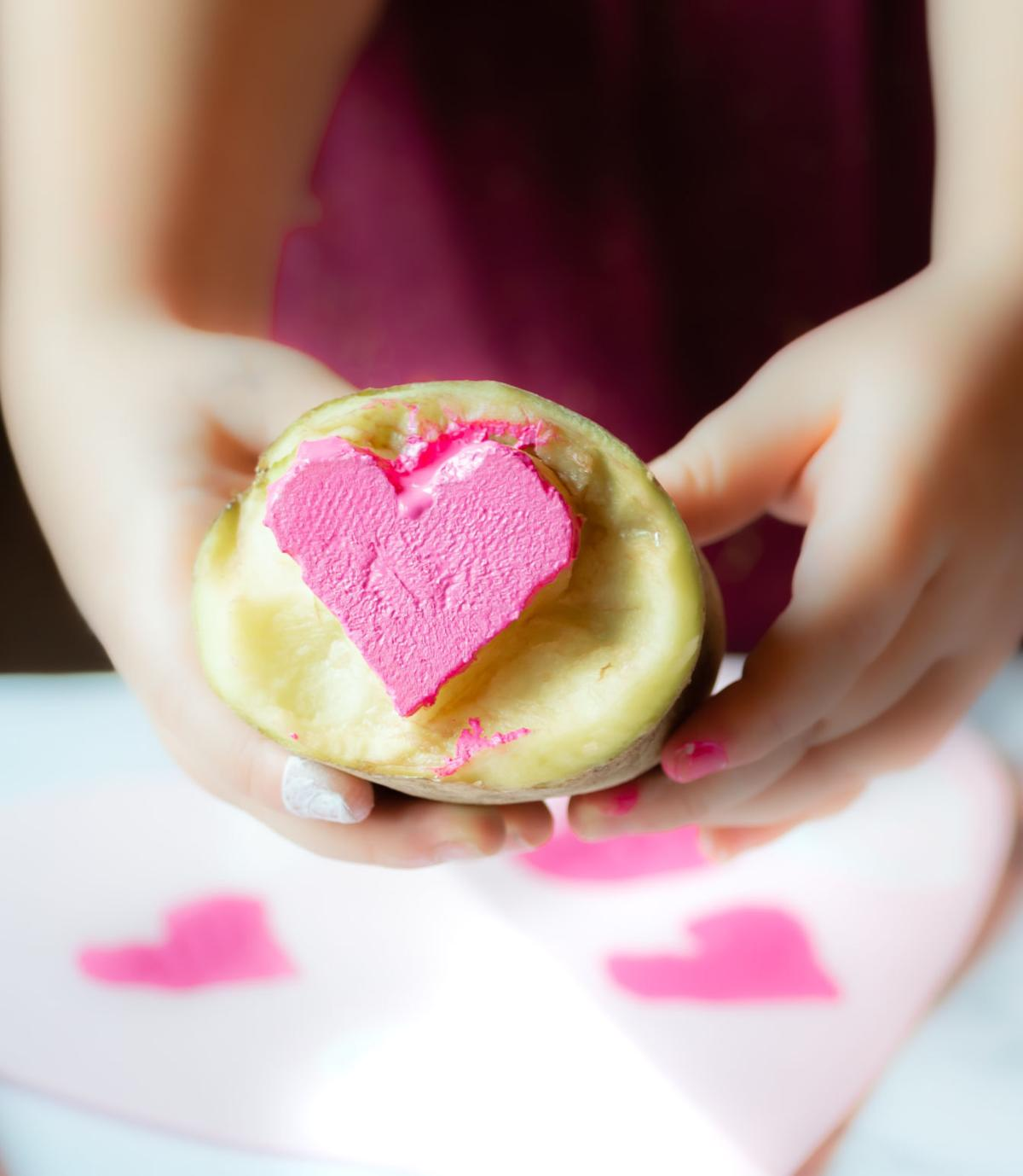 Potato Painted Hearts