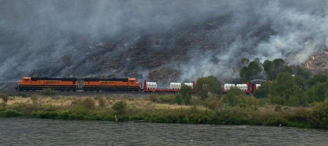 Fire train helps battle Evans Canyon Fire