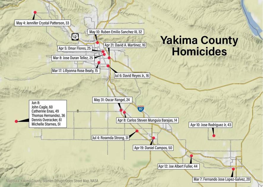Homicide Map 2019 | | yakimaherald.com on whatcom county, yakima wa history, northwest ga county map, pierce county, wenatchee county map, spokane county, san juan county, lewis county, grays harbor county, yakima area wineries, roosevelt county map, chelan county map, columbia county, yakima weather, yakima union gap wa, lincoln county, skagit county, clark county map, yakima washington, snohomish county, yakima indian clothing, charlottesville county map, king county, okanogan county, ketchikan county map, mount rainier national park map, jefferson county, kitsap county, clark county, grant county, benton county, yakima eisenhower high school, yakima mall, washington map, riverside county map, rowan county ky map, franklin county, yakima restaurants,