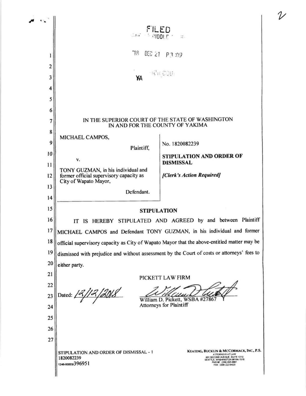 Settlement between Guzman and Campos