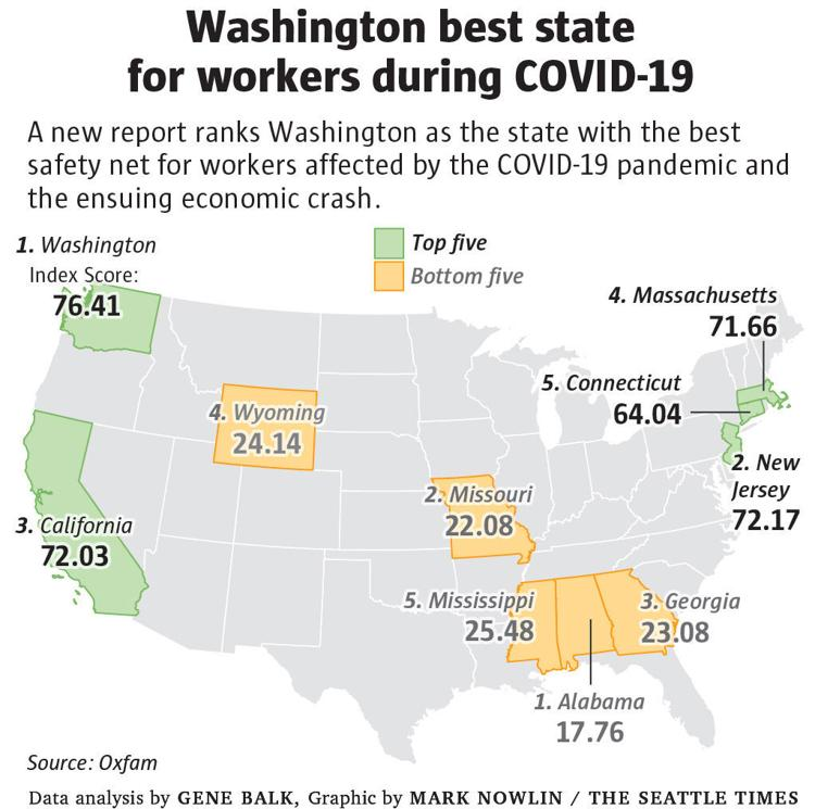 Map of USA with top five and bottom five best states for workers highlighted.