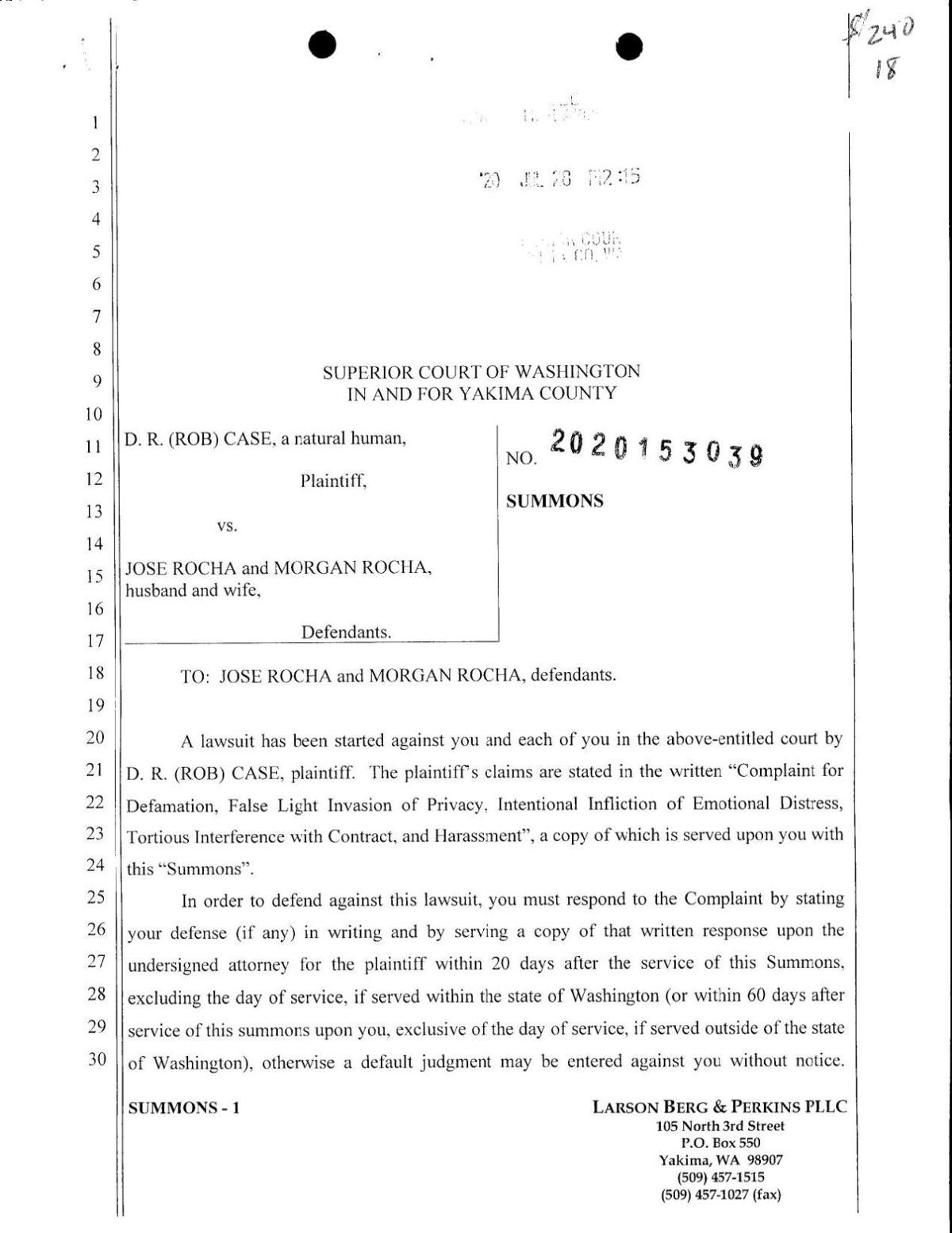 """Lawsuit filed by D.R. """"Rob"""" Case against Jose Rocha"""