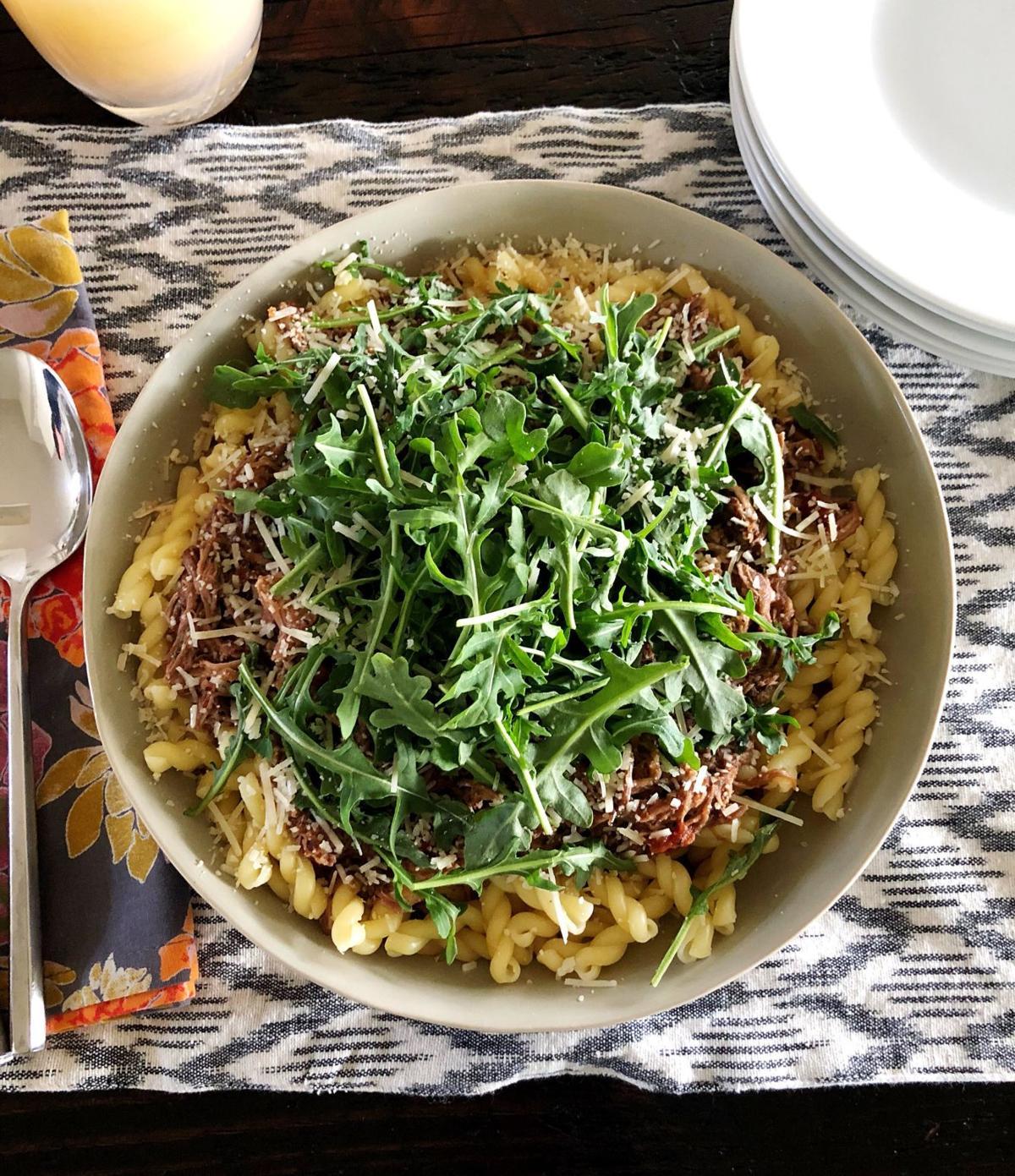 Kitchen Captivated - Pork Ragu with Pasta  and Arugula