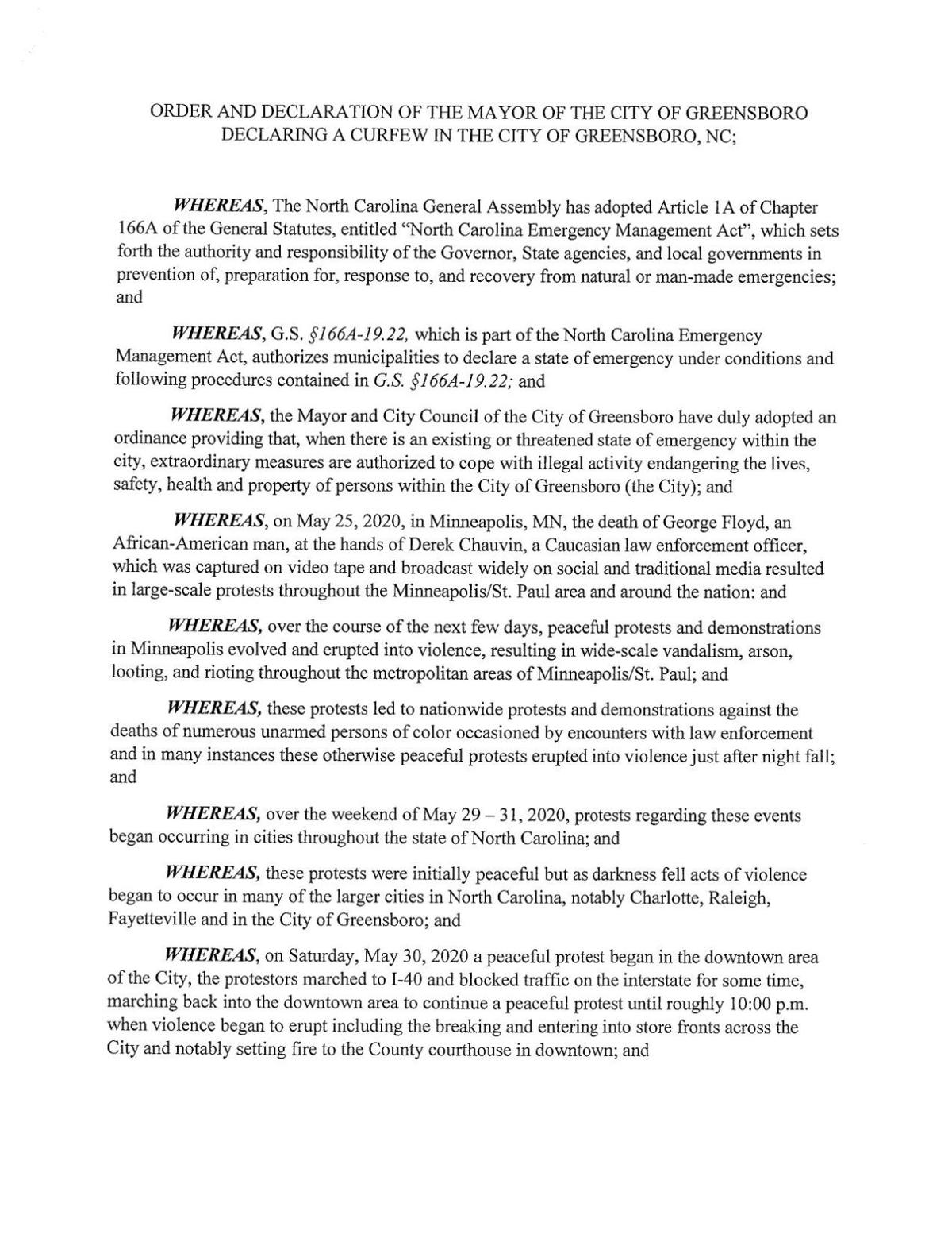Order and Declaration of the Mayor of the City of Greensboro Declaring a Curfew in the City of Greensboro, NC