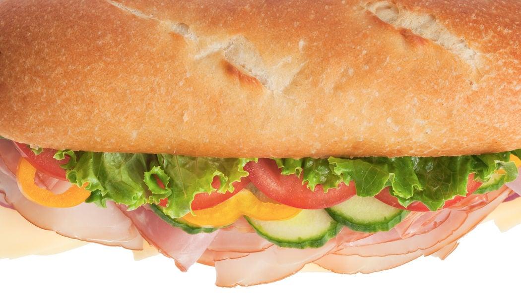 Delicious ham & turkey sandwich – top shot