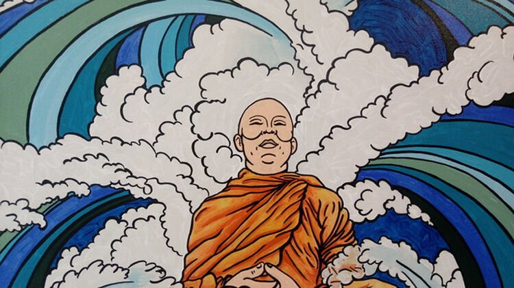VISIONS-Unbound Monk by artist, Eric Marks (Monk in clouds)